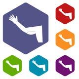Flabby arm cosmetic correction icons set hexagon Stock Image