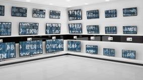 Flachbildschirmfernsehen auf Anzeige mit Schnittstellencodes auf ihren Schirmen stock video footage
