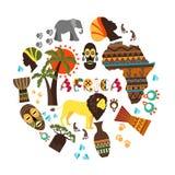 Flache afrikanische ethnische Elemente ringsum Konzept stockfoto