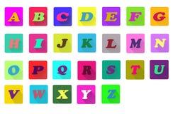 Flache Alphabetikonen Lizenzfreies Stockfoto