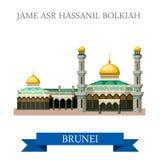 Flache Anziehungskraft Jame Asr Hassanil Bolkiah-Moschee Brunei-Vektors vektor abbildung