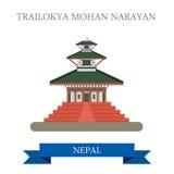 Flache Anziehungskraft Vektors Trailokya Mohan Narayan Temple Nepal Stockbilder