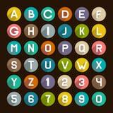 Flache Art-Alphabet-Ikonen eingestellt Zahlen und Zeichen Lizenzfreies Stockfoto