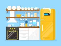 Flache Art der Küche vektor abbildung