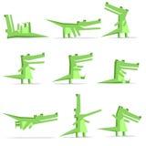 flache Art der Krokodilkarikatur im Aktionssatz Stockfotografie