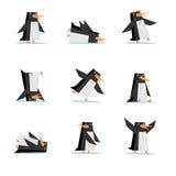 flache Art der Pinguinkarikatur im Aktionssatz Lizenzfreies Stockbild