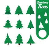 Flache Art der Weihnachtsbaum-Ikonen stockfotos