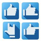 Flache Art des gleichen Knopfes für Social Networking Stockfotografie
