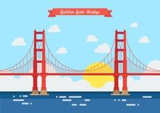 Flache Art Golden gate bridge Lizenzfreies Stockfoto