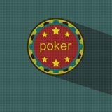 Flache Art mit langen Schatten, Pokerchipvektor Lizenzfreie Stockfotografie