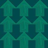 Flache Art-nahtloses Pfeil-Vektor-Hintergrund-Muster Grünes und blaues Zeiger-Geschäft Stockfoto