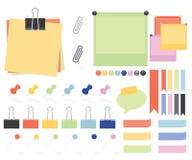 Flache Art-Papier-Anmerkungen und Aufkleber Stockfoto