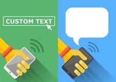Flache Art Smartphones in der Hand - und langer Schatten Lizenzfreie Stockfotos