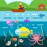 Flache Art-Unterwasserleben mit Fischer auf einem Boot Vektor Lizenzfreie Stockbilder