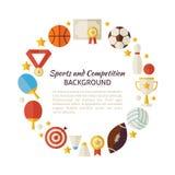 Flache Art-Vektor-Kreis-Schablone von Sport Erholung und Compet Lizenzfreie Stockbilder