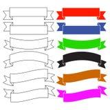 Flache Artfahnenbänder Flatm kurvte, bunt Getrennt auf weißem Hintergrund Glänzende Silberkennsätze und -abzeichen lizenzfreie abbildung