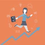 Flache Artfrau, die oben das steigende Einkommensgraphikkonzept laufen lässt Stockfotos