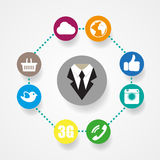 Flache Artillustration der Social Media-Ikone Stockfotos