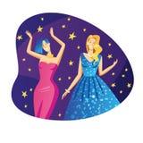 Flache Artillustration des Farbvektors Schöne Mädchen in den Abendkleidern tanzen an einer Partei Die Mädchen am Ereignis haben S stock abbildung