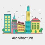 Flache Artillustration für Architektur-Geschäft Lizenzfreies Stockbild