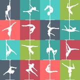 Flache Artstangentanz- und -pfosteneignungsikonen Vektorschattenbilder von weiblichen Pfostentänzern Lizenzfreie Stockbilder