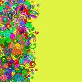 Flache Artvektorillustration mit Blumen, Strudel, Korb, Pilze lizenzfreie stockbilder