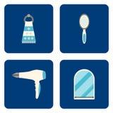 Flache Badezimmerikonen eingestellt auf blauen Hintergrund Auch im corel abgehobenen Betrag Stockfotos
