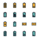 Flache Batterieikonen des Vektors eingestellt Lizenzfreies Stockbild