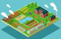 Flache Bauernhof-Landwirtschaft der isometrischen Ikonen-3d stock abbildung