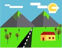 Flache Berglandschaftsillustration Stockfotos