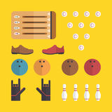 Flache Bowlingspielikonen Lizenzfreies Stockfoto