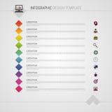 Flache bunte abstrakte Zeitachse infographics Vektorillustration mit Quadraten Lizenzfreies Stockbild