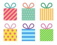 Flache bunte Geschenkboxen Lizenzfreies Stockfoto