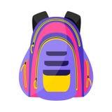 Flache bunte Sportart, touristischer Rucksack, Schultasche, Vektorillustration lizenzfreie abbildung