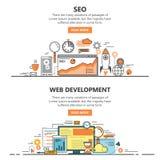Flache dünne Linie der Suchmaschinen-Optimierung und der Web-Entwicklung entwerfen Fahnen Vektorkonzeptelemente, Ikonen Stockbild