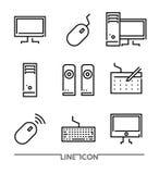 Flache dünne Linie Ikonenvektor der elektronischen Geräte; Elektronische Geräte; Mobiles Zubehör Stockfotografie