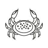 Flache dünne Linie Krabbe auf weißem Hintergrund - vector Illustration Meerwasser-Tierikone Tierkreis-Krebs Lizenzfreies Stockbild