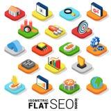 Flache 3d isometrische Suchmaschinen-Optimierungs-Ikone des Vektors SEO Lizenzfreies Stockfoto