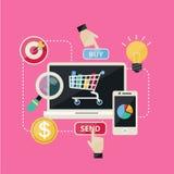 Flache des Konzept- des Entwurfeseinkaufs-und Sozialen Netzesikonen-Vektoren Lizenzfreies Stockfoto