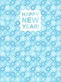 Flache Design guten Rutsch ins Neue Jahr-Grußkarte mit Schneeflocken Lizenzfreie Stockfotos