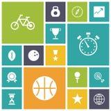 Flache Design-Ikonen für Sport und Eignung Lizenzfreies Stockbild