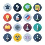 Flache Design-Ikonen für Wissenschaft und Bildung Lizenzfreies Stockbild
