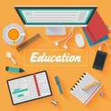 Flache Design-Illustration: Bildungsarbeitsplatz Lizenzfreie Stockbilder