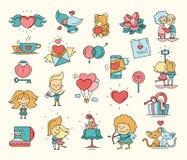 Flache Design Valentinsgrußtagesliebesikonen und Romanze Elemente lizenzfreie abbildung