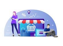 Flache Designfahne des E-Commerce und des E-Einkaufens für Website und bewegliche Website Gebrauchse-commerce der jungen Leute fü Stockfotografie