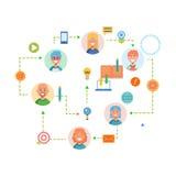 Flache Designfahne für Arbeitsflusswebseite, Geschäftsprozess, Projektleiter, Teamwork, Organisation Vektor Lizenzfreie Stockfotos