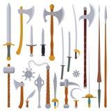 Flache Designfarbmittelalterlicher Waffensatz Lizenzfreie Stockfotos