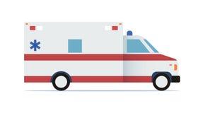 Flache Designikone des Krankenwagenautos Auch im corel abgehobenen Betrag Lizenzfreies Stockfoto