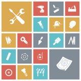 Flache Designikonen für Bau und industriell Lizenzfreies Stockfoto