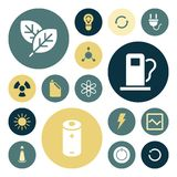 Flache Designikonen für Energie und Ökologie Stockfoto